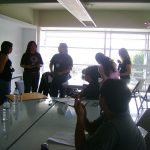 Después de la conferencia, Óscar González Loyo se unió al taller de creación de personajes, Susana Romero Medina y Horacio Sandoval daban el suyo para explicar ciertas cosas sobre el diseño de personajes.