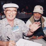 Óscar González Guerrero con Dave Thorne, dibujante Hawaiano, ambos que en paz descansen.