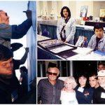 Steve Leialoha y su servidor, en la mesa de artistas y con Stan Lee y su esposa.