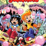 """Cómic de """"BubbleGummers"""", el cual se imprimió en Brazil."""